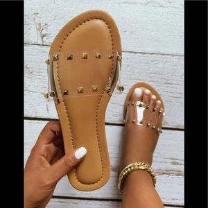 Clear Spiked Slide Sandals